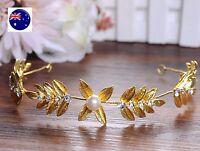 Women Gold Leaf Wire wedding Race Party Hair piece Headband Crown Tiara Prop
