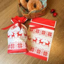 10X Elk Christmas Tree Party Gift Drawstring Packing Stocking Bags UK