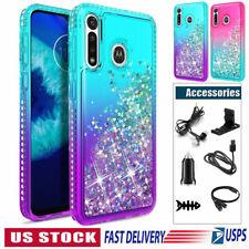 For Motorola Moto G8 Plus/Play G8 Power Liquid Glitter Case Cover + Accessories