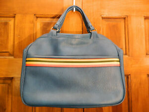 Vintage Blue Vinyl Carry On Travel Bag Tote Carry All Overnight Bag Luggage