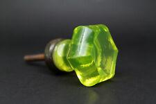 ANTIQUE GLASS DOOR KNOB LIGHT GREEN URANIUM hexagon Pulls Handles