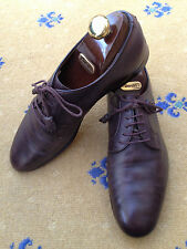 Gucci Men's Shoes Brown Leather Lace Up UK 8 US 9 EU 42 Made in Italy Script