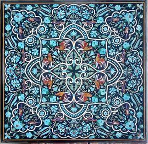"42"" marble Table Top turquoise semi precious stones inlay Handmade Work"