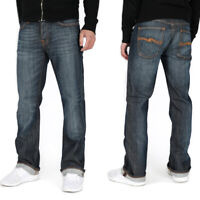 B-Ware - Nudie Herren Regular Slim Fit Stretch Jeans Bootcut Barry Cold Denim