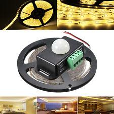 5M SMD2835 300 LED Waterproof Warm White Tape Strip Light + PIR Motion Sensor Sw