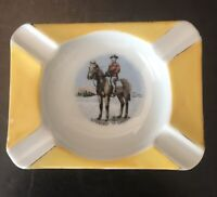 Vintage Hand Painted Ceramic Ashtray Man On Horse Souvenir Of Canada