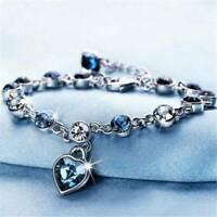 Love Heart Ocean Blue Crystal Bracelet Adjustable Chain Jewelry Gift for Women