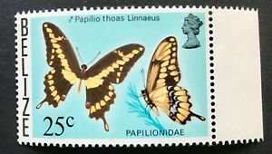 "Belize 1974 UMM Butterfly ""Papilio Thoas"" 25c Wmk Sideways Inverted sg 389"