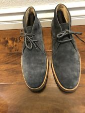 TOD'S Mens Navy-Blue Suede Chukka Ankle Boots High-Top Lace-Up Shoes 9 US