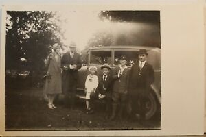 Real Photo Family Car Automobile Camera Banana Postcard Old Vintage Card View PC
