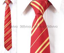 Dark Red Yellow Stripe Men Neckwear Necktie 100% Woven Silk 8 cm Wedding Tie