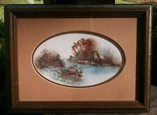"""Southern Artist JAN DORER Miniature WATERCOLOR of LOG CABIN in the Woods 4""""x7"""""""