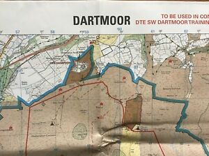 ORIGINAL BRITISH ARMY 1:25,000 MILITARY MAP: DARTMOOR TRAINING AREA (142x81cm)