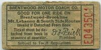 Brentwood Motor Coach Co. Carrick, Pennsylvania PA Transit Ticket Pass Token