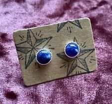 SODALITE & STERLING SILVER 6MM STUD EARRINGS - GEMSTONE CRYSTAL HEALING