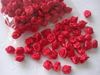 100 Mini Satin Ribbon Rose Flower/wedding/sewing/trim/bow/craft/favors F18-Red