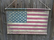 Farmhouse AMERICAN FLAG Canvas Scroll 39 x 24 Wall Decor Rustic USA Americana