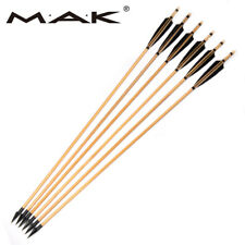 6pcs 85cm Spine 500 Wooden Arrows w/Broadheads Turkeys Feather for bow Hunting