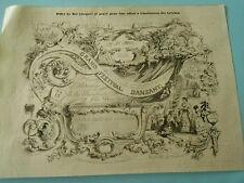 Gravure 1848  Billet de Bal composé pour être offert à l'Institution des Crèches