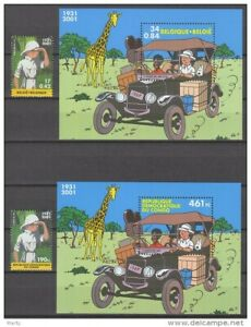 Belgium+Dem Rep Congo** TINTIN in Congo-Ford Model T car-2 SHEETS+2stamps-2001