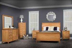 6-Pc Amish Modern Sleigh Bedroom Set Solid Wood Furniture USA Full Queen King
