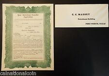 C.C. Massey Oil Company Stock Transfer Application Agreement and Envelope 1929