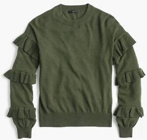 Medium Woman J Crew Olive Moss Green Ruffled Sleeves Wool Blend Crewneck Sweater