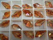 4 swarovski polygon drop pendants(top drilled)21mm crystal copper #6015