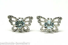 9ct White Gold Blue Topaz Butterfly Studs earrings Made in UK Gift Boxed