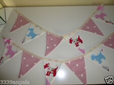 1m BUNTING FLAGS PINK DOTTY SPOTS SCOTTIE DOG CHIC PINK GIRLS RED SHABBY VINTAGE