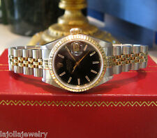 Ladies ROLEX Oyster Perpetual DATE Black Face TWO-TONE Yellow Gold and Steel