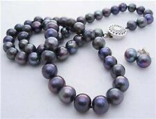 8-9mm Real Natural Black Akoya Cultured Pearl Necklace18'' Earrings Jewelry Set