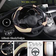 38cm 15inch Car Steering Wheel Cover Non-slip PU Leather Black/Beige Accessories