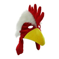 Fuzzy Chicken Hat Mask Costume Accessory, One Size Red/White/Yellow