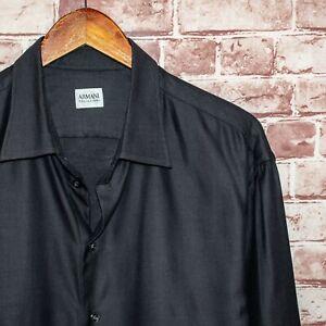 ARMANI Collezioni Button up Dress Shirt Dark Gray Weave Textured Size XL