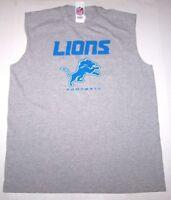 Nwt New Detroit Lions Football NFL Logo Tank Top Muscle Shirt Tee Gray Nice Men