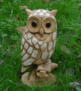 Wooden Owl Carving 31cm tall sustainable hardwood Hand painted detail.