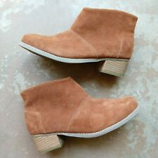 Toms Girls Suede Ankle Boots Size 4 Youth Tan Cognac Stacked Heel Side Zip Low
