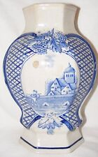 ANTIQUE DELFT BLUE & WHITE HAND PAINTED VASE FACETED BALUSTER VASE PASTORAL 9.5""