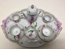 HEREND VINTAGE KITTY FLOWER TETE A TETE  MOCHA SET FOR TWO, 9 PIECES CIR. 1963