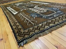 Primitive Antique 1930-1940's Organic Wool Pile 5x9ft Cross Medallion Kazak  Rug