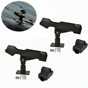 Black Adjustable Fishing Rod Pole Mount Stand Bracket Holder Kit For Canoe Boat