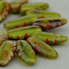 (15) Czech Glass Beads - 14x6mm Serrated Dagger - Green/Brown Mix #Rj 202 554