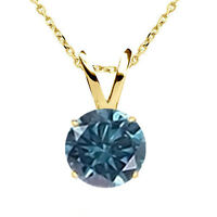 "0.35CT TCW Blue Diamond 14K Yellow Gold Solitaire Pendant Necklace 18"" Chain"
