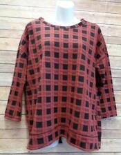 Pleione M Red Black Plaid 3/4 Sleeve Knit Oversized Pullover Blouse Shirt Top
