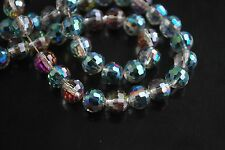 50pcs Hot Colorized Glass Crystal 96Faceted Round Beads 8mm Spacer Findings