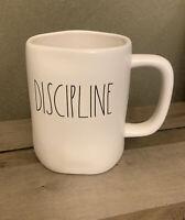 Rae Dunn - DISCIPLINE - LL White Ceramic Coffee Mug