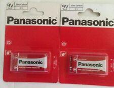 2 x GENUINE PANASONIC 9V BATTERY Square Block Zinc Carbon Batteries Smoke Alarm