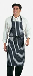Dennys Butcher Navy Stripe Bib Apron - Chefs, Butchers, Cooks - Hard Wearing