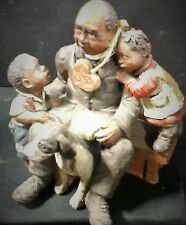 Sarah'S Attic Granny'S Favorite Figurine Priest With Two Young Children & A Dog